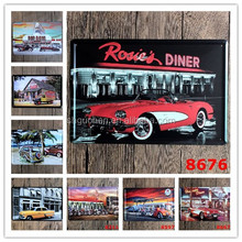 Factory price Parking Lot Scenery Nostalgic Ornaments Wall Decor Vintage Craft Art Home Pub Bar Restaurant Decor