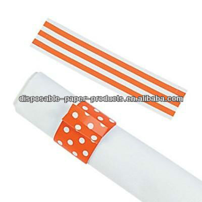 Orange Stripes & Polka Dots Reversible Napkin Rings Wedding Decoration Bridal Shower Party Favor