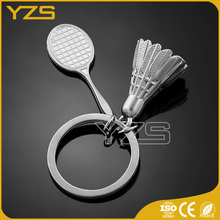 factory custom made zinc alloy feature badminton keychain