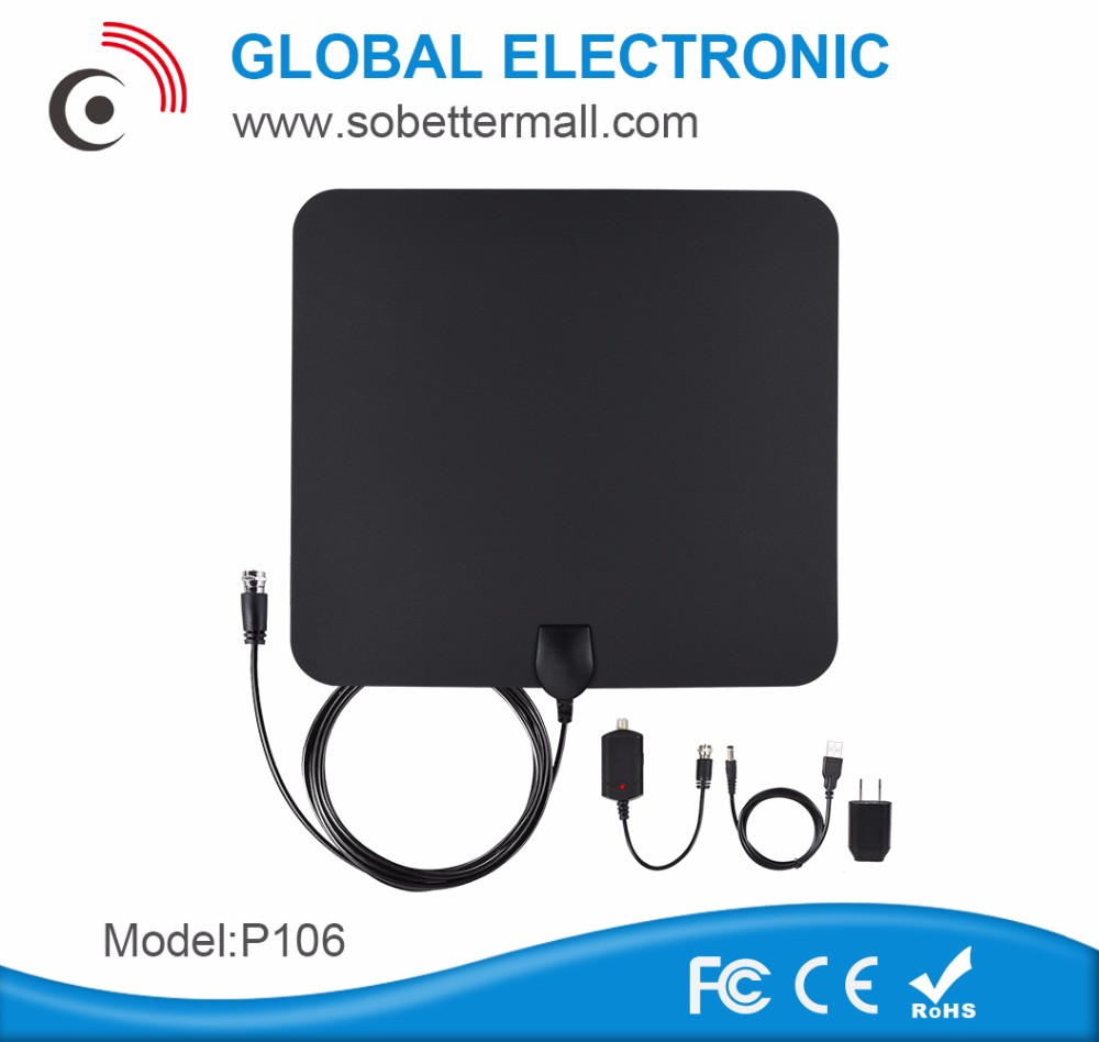 AIRFREE HD Indoor Antenna 50 Miles Range Digtial TV HDTV Antenna USB Power Supply - 12ft Coax Cable P106