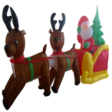2018 Different size christmas decoration inflatable two brown deer pulling santa claus and artificial tree sitting snow sledge