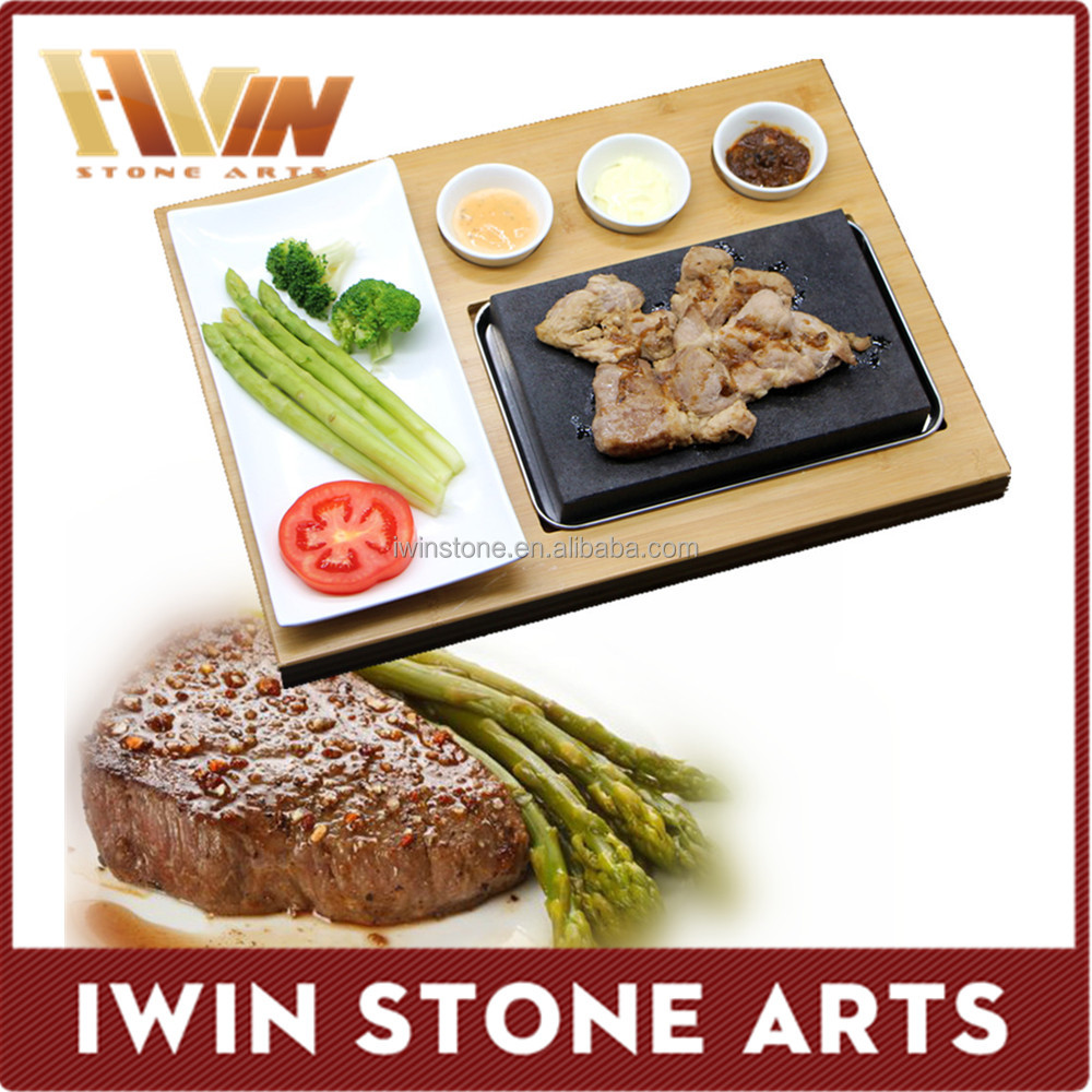 Granite steak cooking stone,cooking stone,steak grill lava stone for cooking with ceramic board