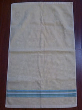 100%cotton dyed plain color with dobby strip border terry hand/face towel