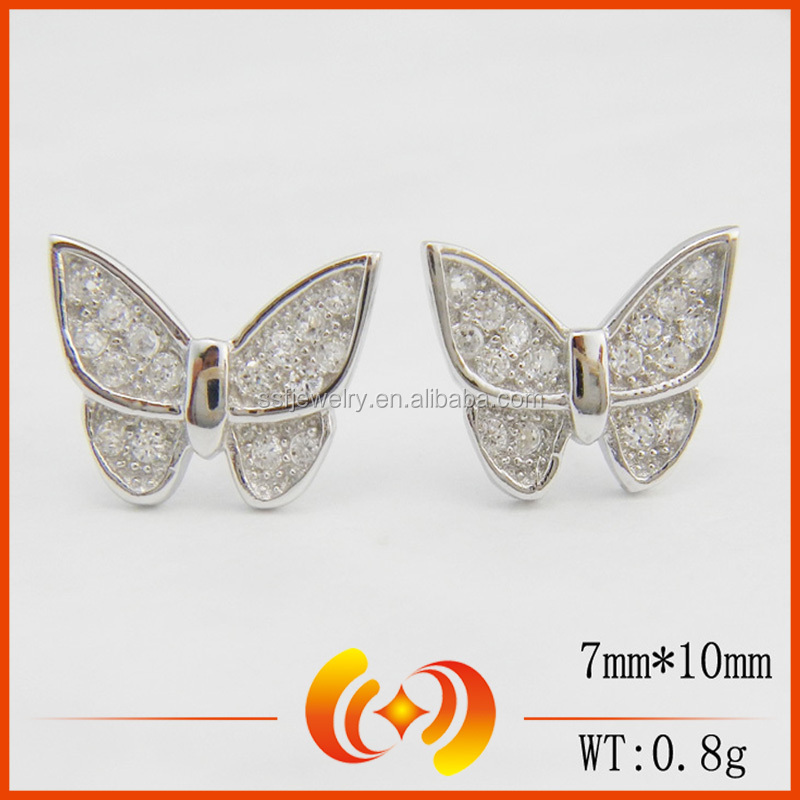 SE0108 cheap items fashion jewelry pave diamond designer jewelry butterfly stud earrings