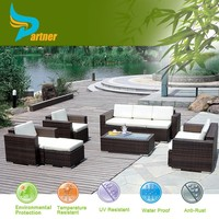 6 Pieces Rattan Effect Garden Powder Coated Steel/Aluminum Outdoor Furniture of Cebu Sofa Set