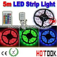 Dropship 5m 12V 300 waterproof RGB LED Strip 5050 Light +24keys Remote Control warranty 2 years CE RoHS - free shipping