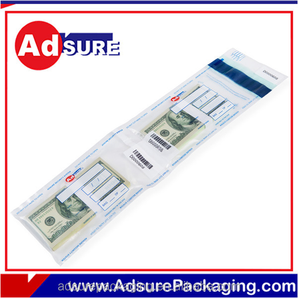 Transparent Plastic Security Bank Bag For coin/ note/cash