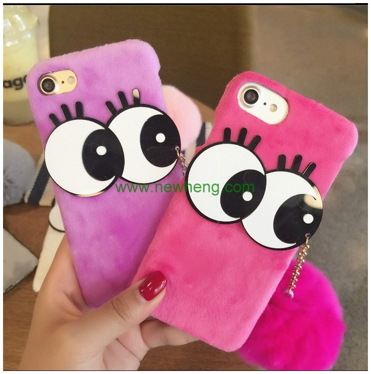 New Arrive Big Eye Plush Fur Ball Phone Case PC Plastic Back Cover Case For iPhone 7