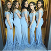 New Design Elegant Cheap Cap Sleeve White Green Patterns Mermaid Bridesmaid Dresses Long LB12