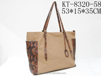 Wholesale Classical Light Brown Snake Skin PU Leather Side Ladies Tote Bag