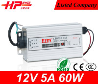 Waterproof series constant voltage 60W 12V 5A with CE RoHS FCC 12v regulated power supply