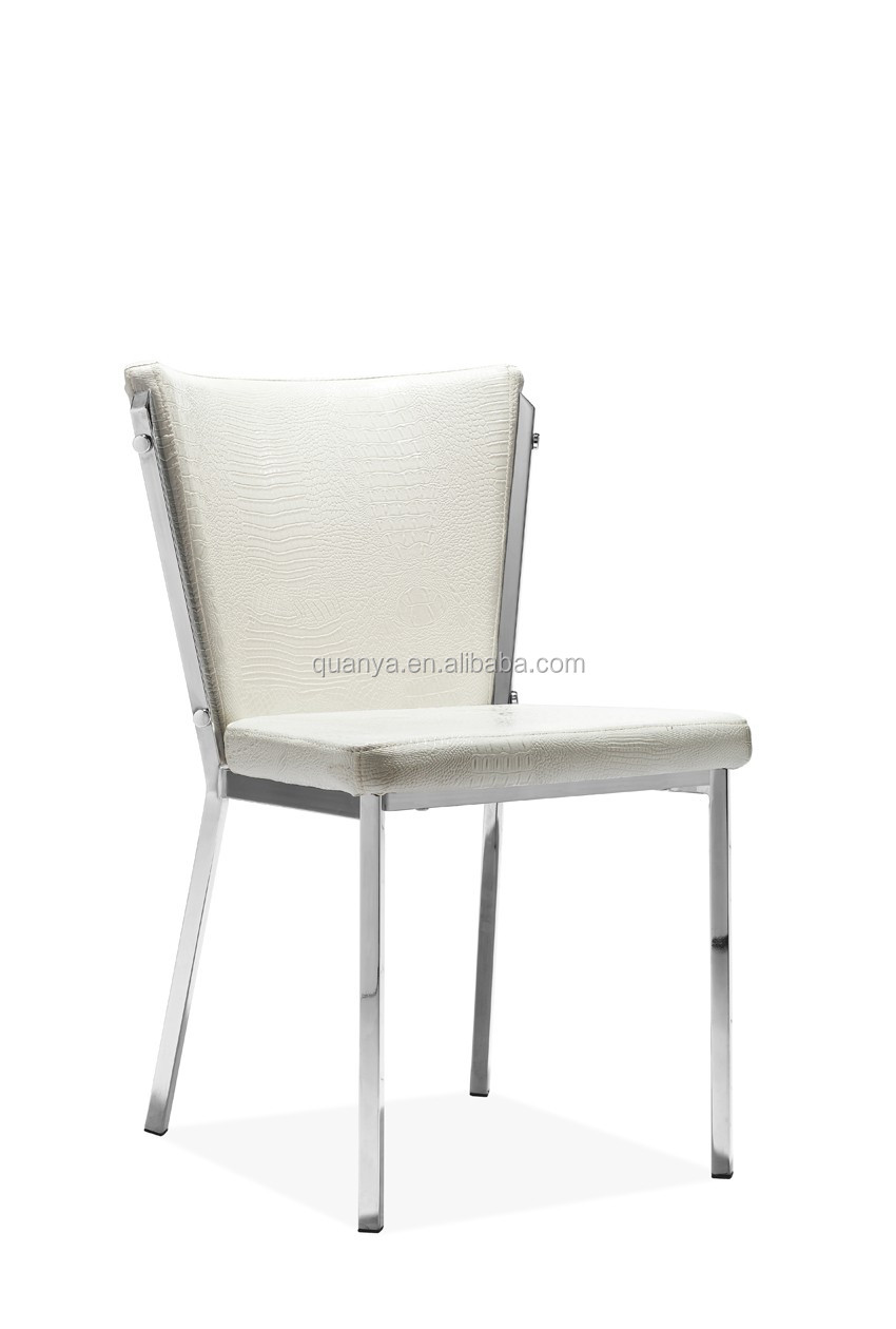 Antique White leather armless dining chair with galvanized frame for home
