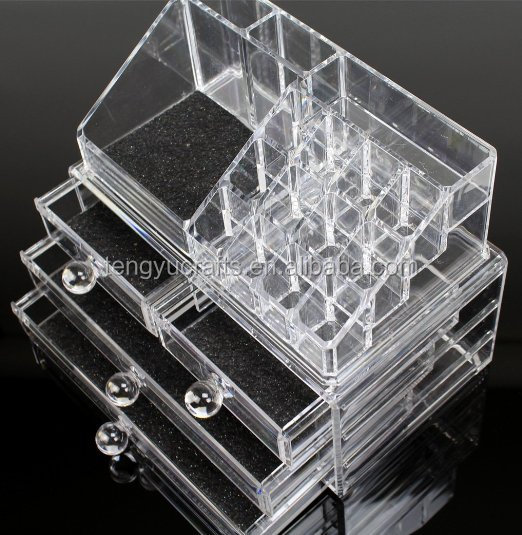 easy grip mesh pad cosmetic jewelry storage 4 drawer clear acrylic makeup organizer with lipstick holder 16 slot