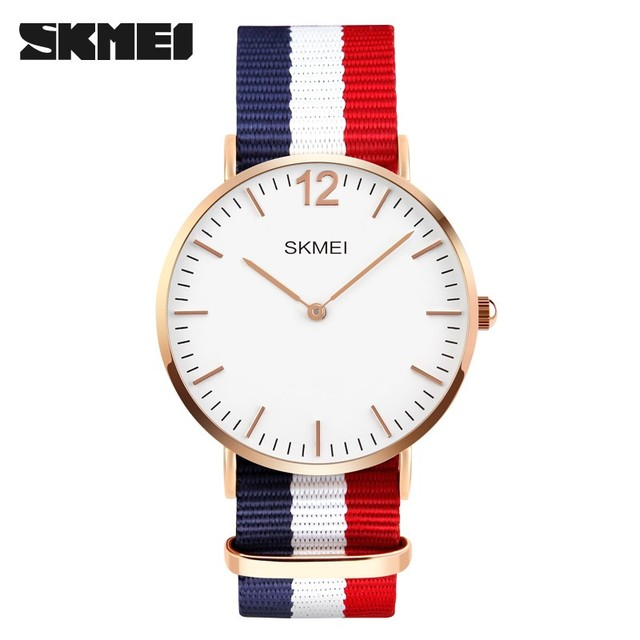New Fashion Mens Watches Rose Gold Geneva Quartz Wristwatch Relogio Masculino SKMEI 1181 High Quality Nylon Sport Casual Watch