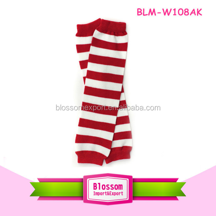 Boy Baby/Toddler Leg Warmers red and white stripes arm/knee protectors