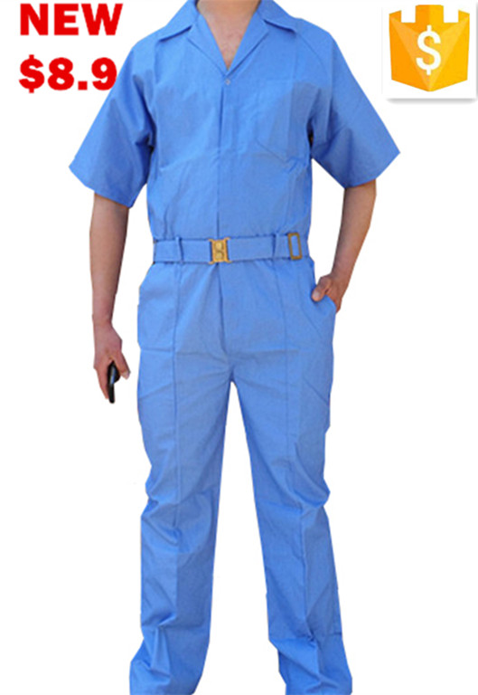Summer Short Sleeve Blue Poly/cotton Workwear/Working Coverall Suit for construction workers