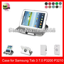 High Quality Rotating PU Leather Case For Samsung Galaxy Tab3 7'' P3210 P3200 leather case,White