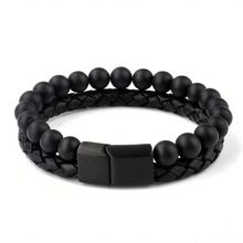Fashion Jewelry 2018 Black Natural Stone Beads Leather Men Accessories Bracelet