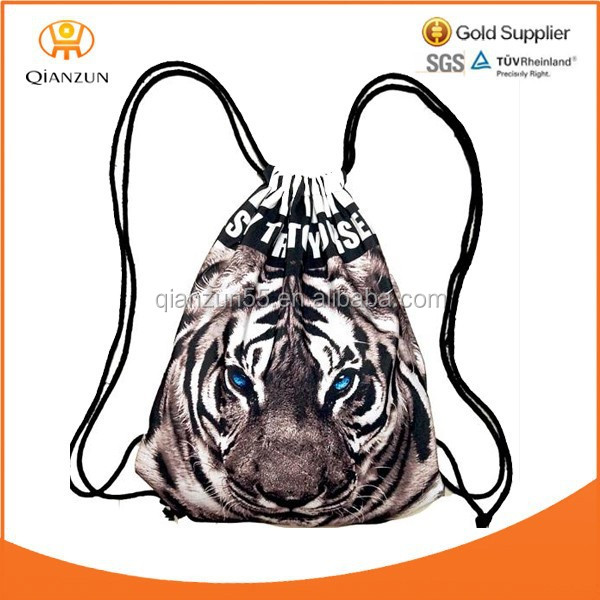 Tiger 3D printing animal draw string canvas hiking pack bag