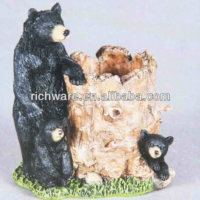 Hot sale black resin garden bears