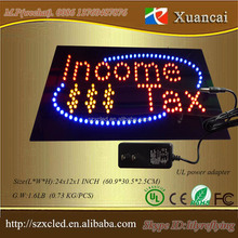 Approval UL power supply High end glass cover 48(W)X24(H)X2.5(D)CM flashing chasing led open sign