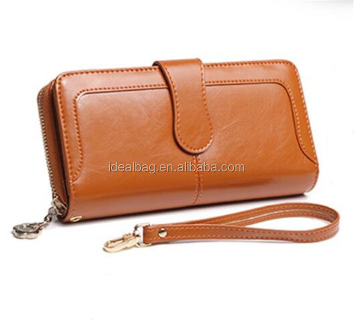 2016 euro design large capacity real leather women purse zipper clutch purse