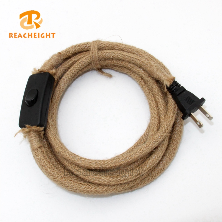 DIY Cord Set Hemp Rope Power Cord With UL Plug And On Off Switch