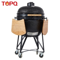 "TOPQ outdoor kitchen smokeless clay tandoor 25"" ceramic kamado barbecue grill"