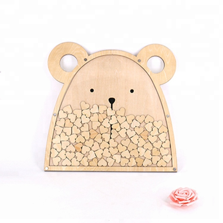 Wooden 3d Hearts wedding guest book