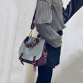 Saddle bag 2017 new handbag color joker rivet bump han edition leisure single shoulder bag