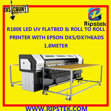 1.8METER R180 LED UV FLATBED&ROLL TO ROLL PRINTER WITH EPSON DX 5 HEADS GEN5 RICOH HEAD