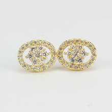 white stone wholesale small fashion stud round circle gold earrings