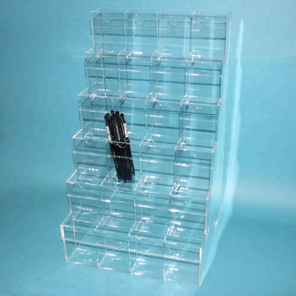 Transparent Plexiglass 6Layers Stationery Store <strong>Display</strong> Stands For Pen