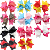 Assorted Color Baby Girls Grosgrain Ribbon Bow Snap Hair Clip