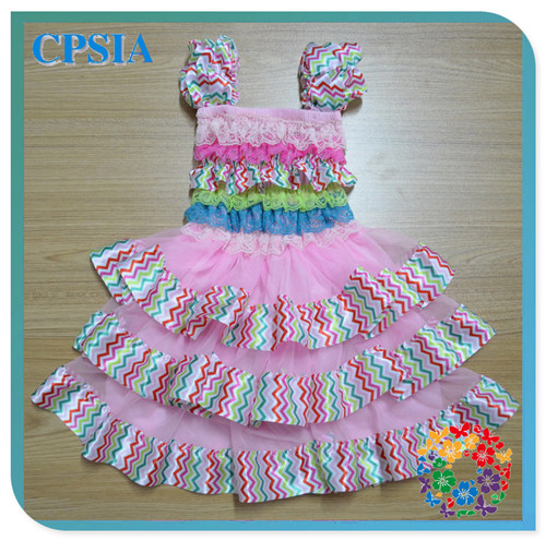 Rainbow Chevron Beautiful Children's Birthday Dresses Latest Design Baby Frock Design For Girls Christening/Prom/Evening Gown