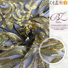 Cheap price hand stone 100 polyester embroidery mesh sequins fabric