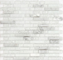 Decorative stone mosaic tile hexagon marble stone mosaic mix crystal glass tiles for walls