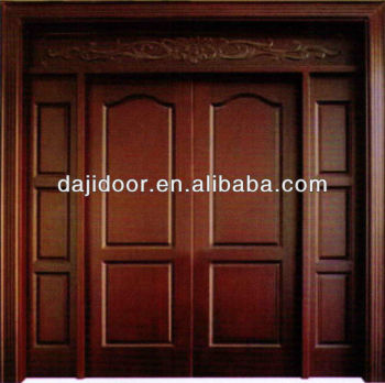 Luxury Wooden Front Double Doors Design WIth Side Lite Transom DJ-S8354STHS