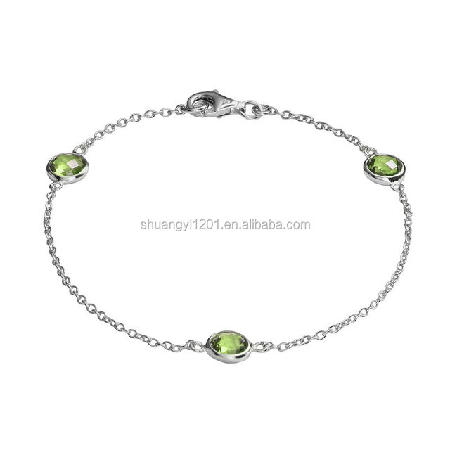 Simples birthstones link chain Silver plated Peridot Bracelet jewelry