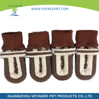Lovoyager winter dog boots with suede fabric and rubber soles
