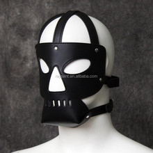 Fetish Head Harness Mask Hood Sex Slave Game Bondage Face Blindfold Adult Sexual Restraints Gear Faux Leather PVC Sex Product