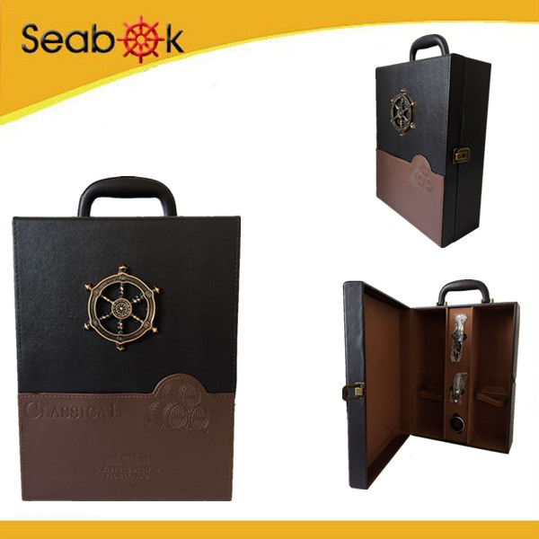 Practical MDF wooden wine gift box attractive design customizable wine box for 2 bottle