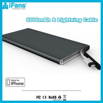 OEM 6000mAh ALuminium Power Bank Charger With Charging Cable MFI Certificated