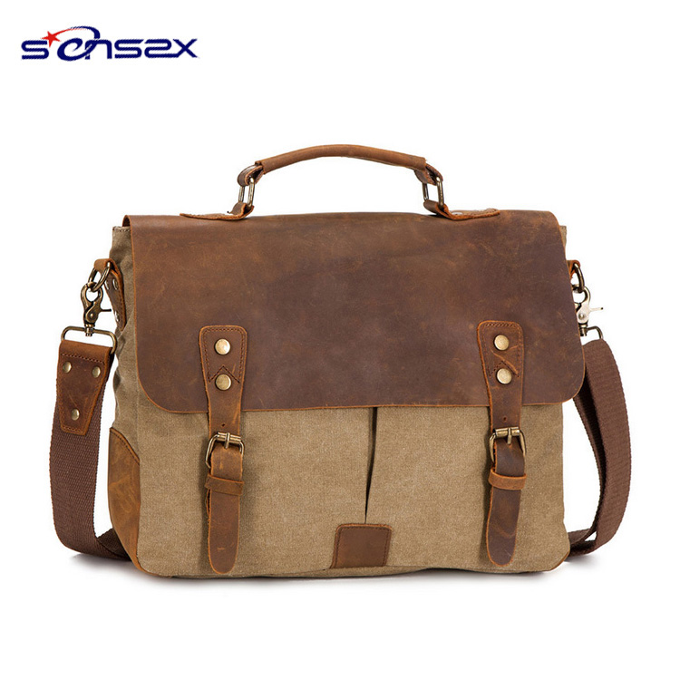 Vertical laptop bag vintage Leather and nylon Messenger Bag
