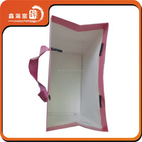 Hot sale printed logo paper shopping bag with ribbon handle