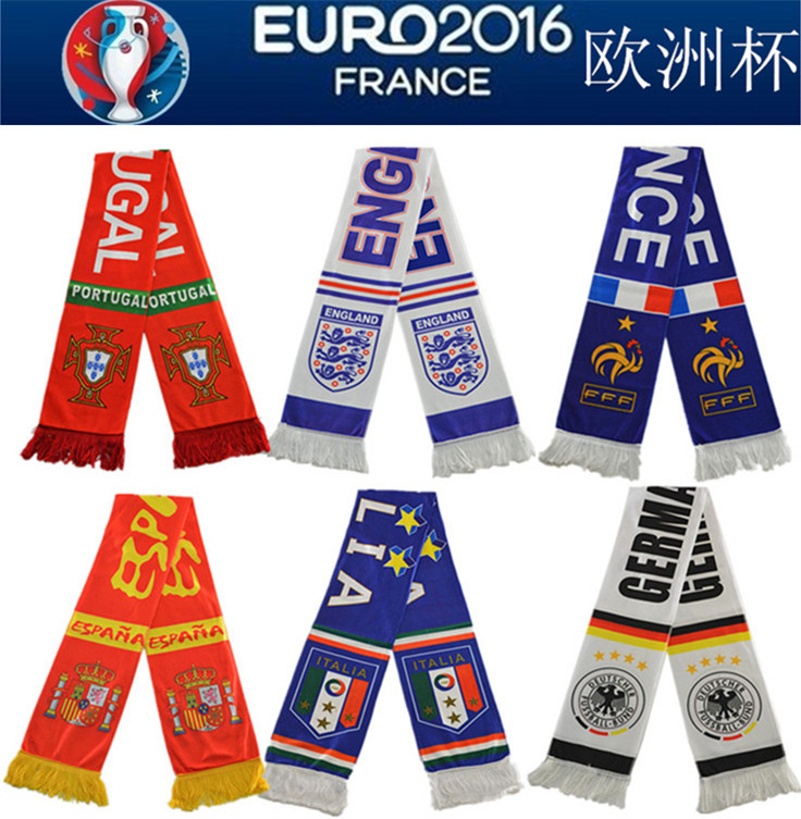 Customer design european cup satin acrylic scarf promotion products logo football fan scarf