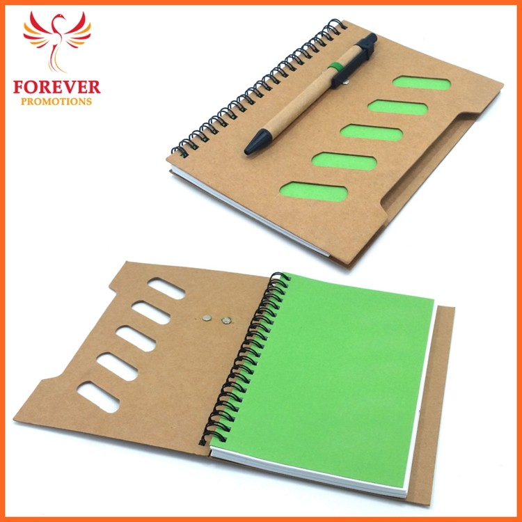 Wholsesale Custom Logo White Paper Notebook 17.7*13.0CM Eco Recycled Notebook With Eco Pen Hardware Cover Jotter