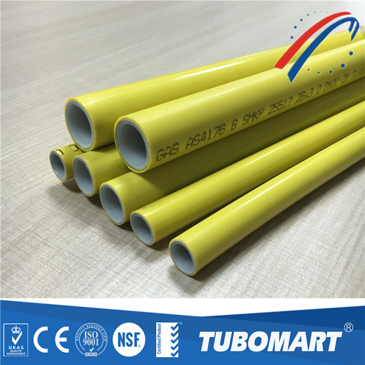 yellow pe al pe gas pipe for natural gas pipe ISO 17484 1:2006 certificated