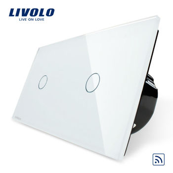 Livolo White Crystal Glass Panel Automatic lighting remote control function wall touch switch VL-C701R-11/VL-C701R-11