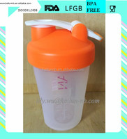 400ml and 600ml 20 oz plastic protein shaker bottle or cup with plastic ball